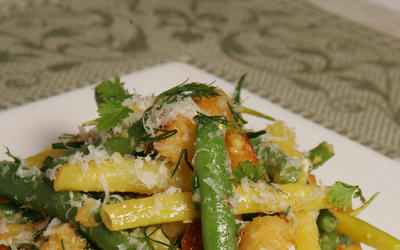 Green bean salad with brioche croutons and tarragon aioli