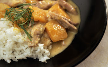 Thai red curry duck with pumpkin