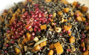 Wild rice 'stuffing' with butternut squash, toasted hazelnuts and pomegranate seeds