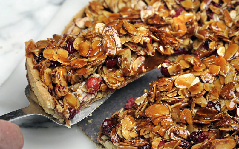 Cranberry, caramel and almond tart