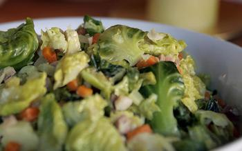 Brussels sprout leaves cooked with pancetta and mirepoix