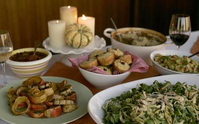 Salad with shredded turkey, romaine, cilantro and sesame dressing