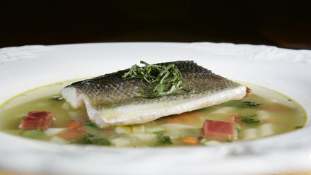 Branzino in vegetable minestrone