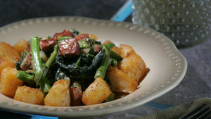 Rapini with linguica and golden roasted potatoes