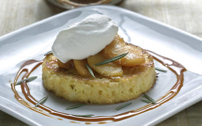 Rosemary pain perdu with sauteed apples, Chantilly cream and Armagnac caramel sauce