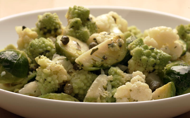 Cauliflower and Brussels sprouts salad with mustard-caper butter