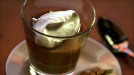Butterscotch budino with caramel sauce