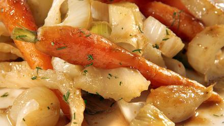 Glazed vegetable melange