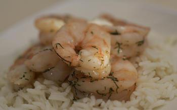 Slow-poached shrimp