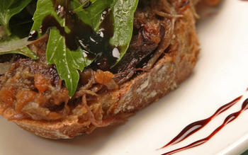 Braised oxtail bruschetta