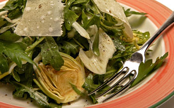 Salad of wild arugula, shaved baby artichokes and fennel