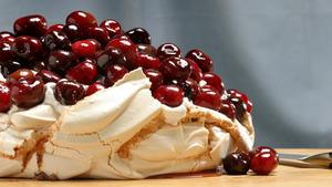 Roasted cherry Pavlova with cinnamon whipped cream