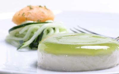 Yogurt panna cotta with cucumber 'noodles'