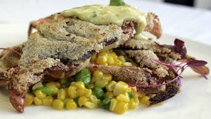 Soft-shell crab with succotash and sauce gribiche