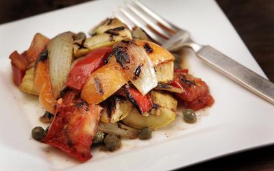 Grilled summer vegetables with brown-butter vinaigrette