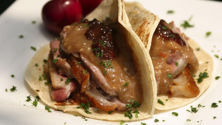 Duck tacos with chile-cherry compote