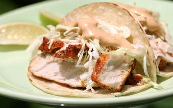 Achiote-marinated fish tacos