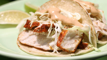 Achiote-marinated fish tacos