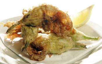 Ricotta-stuffed squash blossoms