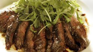 Grilled beef tagliata with arugula salad