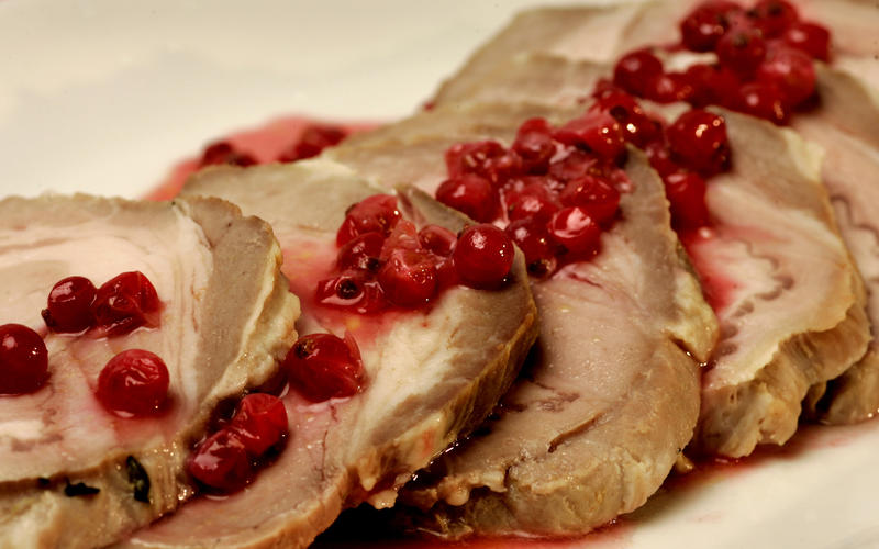 Roast pork loin with red currants