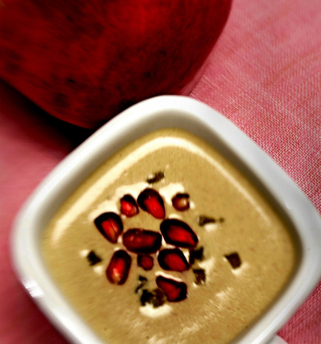 Walnut soup with poblanos and pomegranate
