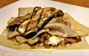 Free-form zucchini lasagna with lemon-thyme cream