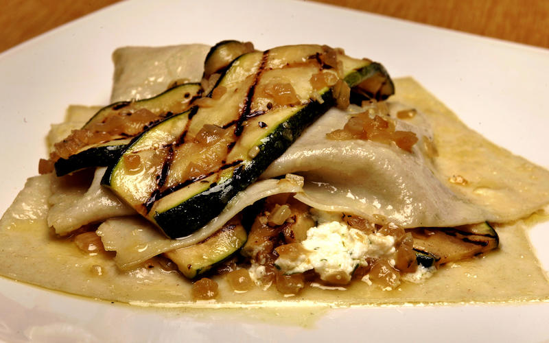 Free-form zucchini lasagna with lemon-thyme cream