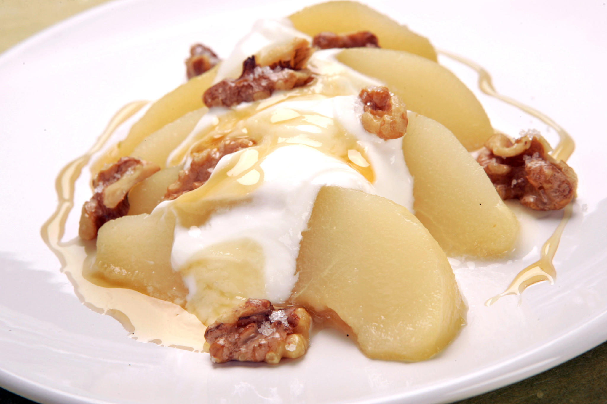 Recipe: Honey-poached pear with Greek yogurt and toasted walnuts ...