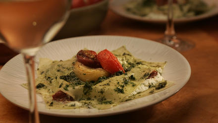 Free-form lasagna with slow-roasted tomatoes and pesto