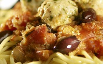 Spaghetti and monkfish meatballs