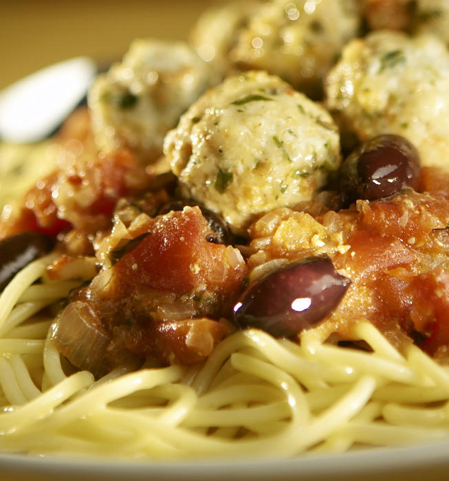 Spaghetti and monkfish meatballs