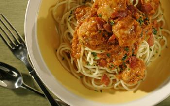 Spaghetti and rabbit meatballs