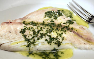 Salt-roasted whole snapper with parsley sauce