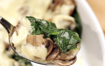 Spinach and mushroom gratin