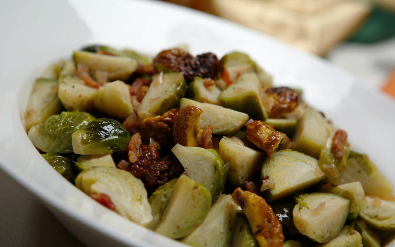 Brussels sprouts with bacon and chestnuts