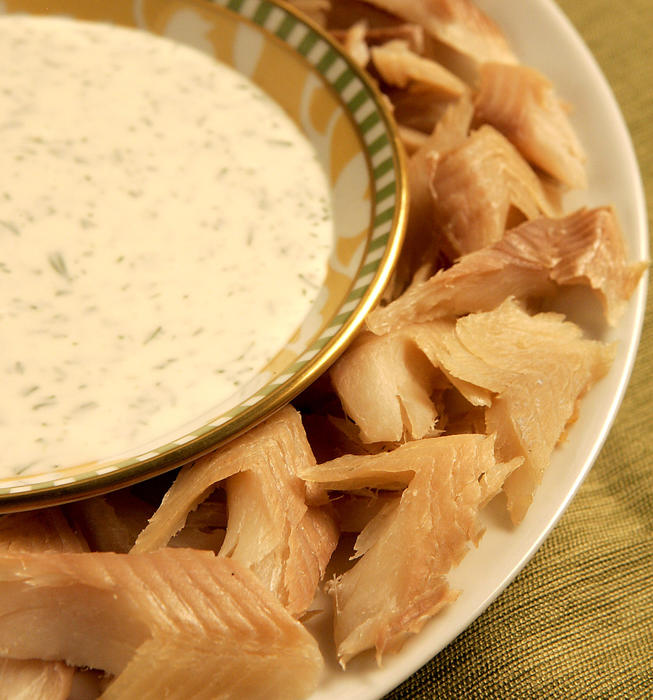 Smoked trout chevrons with dilled creme fraiche