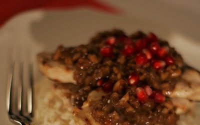 Cayenne Cafe chicken with pomegranate-walnut sauce