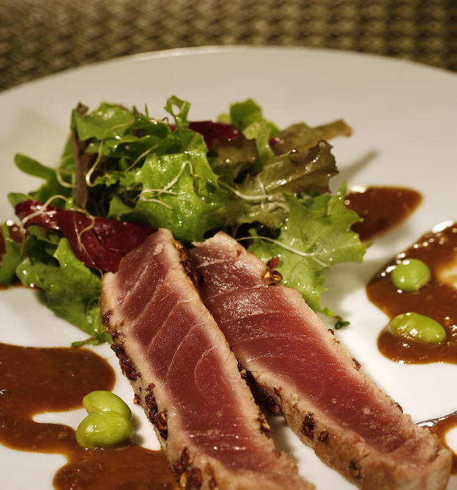 Seared tuna with Sichuan pepper and soy-mustard sauce