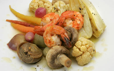 Vegetables a la grecque with sauteed shrimp