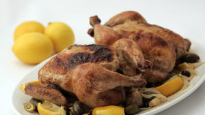 Roasted Cornish game hens with Meyer lemons