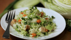 Daikon and grilled chicken chopped salad