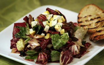 Grilled radicchio and romaine chopped salad