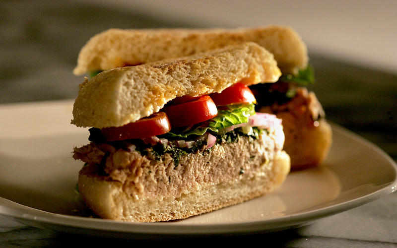 Italian tuna and shiso sandwich