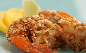 Mesquite almond shrimp