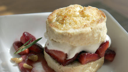 Honey shortcakes with honey-pine nut gelato