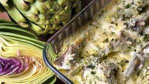 Artichoke and green garlic gratin