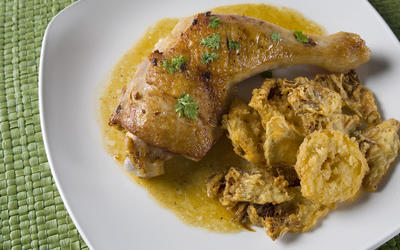 Roast chicken with fried artichokes and lemons