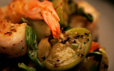 Garlic shrimp with grilled tomatillos