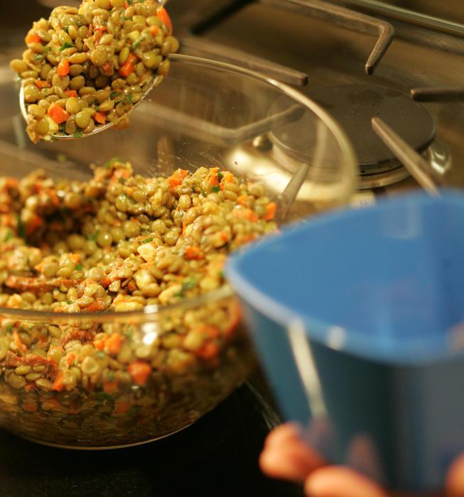 Warm salad of lentils, roasted vegetables and fresh mozzarella